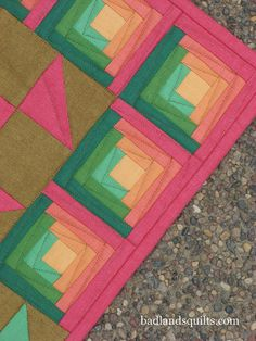 Modern Log cabin....love colors and quilting.  badlandsquilts, via Flickr