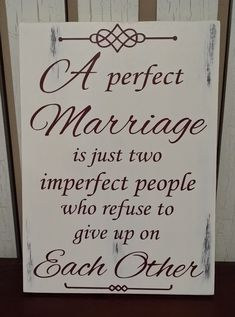 Anniversary - Wedding - Birthday -  Gift for Him or Her - A Perfect Marriage Rustic Wood Sign. - pinned by pin4etsy.com