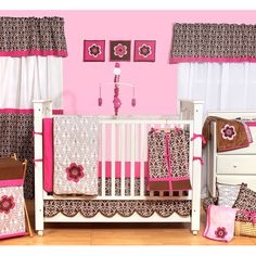 From Walmart - http://www.walmart.com/ip/Ticklicious-Damask-10pc-Bumper-Free-Nursery-in-a-Bag-Bedding-Set-Pink-Chocolate/19765965?ci_src=14110944_sku=19765965=1500000000000003260330