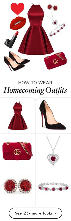 """""""Red Heart"""" by brokenmystery on Polyvore featuring Christian Louboutin, Allurez, Gucci, Lime Crime and NARS Cosmetics"""