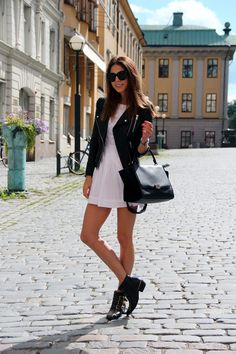 White dress topped with black leather jacket matched with my beloved Chloé Susanna boots and Céline Trapeze Bag