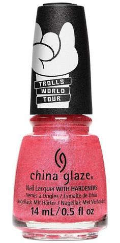China Glaze Nail Polish, Pink-In-Poppy, fl. Bright pink nail color with strong iridescent fuchsia pink shimmer and scattered dark pink micro-glitter. China Glaze Trolls World Tour Collection, Spring Bright Pink Nails, Pink Nail Colors, China Glaze Nail Polish, Opi Nail Polish, Nail Hardener, China Clay, Color Club, Nail Treatment, Nail Polish Collection
