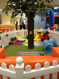 Playdate Cafe Daycare Rooms, Home Daycare, Indoor Playroom, Kids Salon, Creative Kids Rooms, Kids Indoor Playground, Kindergarten Design, Sensory Rooms, Play Gym