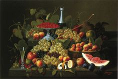 Severin Roesen (1815-1872) —  Still Life with Fruit and Champagne 91065x714)