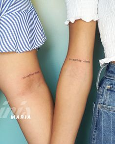 These 30 Matching Tattoos Are The Best of 2020 - TattooBlend Best Friend Tattoo Quotes, Good Tattoo Quotes, Knee Tattoo, Leg Tattoos, Girl Tattoos, Temp Tattoo, B Tattoo, Small Writing Tattoos, Endometriosis Tattoo