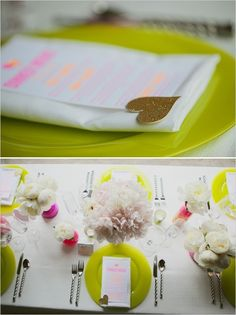 Ideas y decoración | Menú de platos en colores flúo