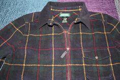 Lauren by Ralph Lauren Zip Dark Green Plaid Fleece Jacket Womens Size Small  | eBay