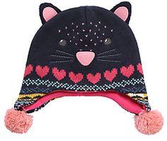 John Lewis Novelty Cat Trapper Hat, Navy