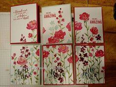 6 cards from a sheet of stamped card stock. So lovely! Stampin' Up!