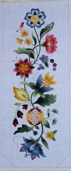 "Crewel embroidery kit by Elsa Williams, designed by Joan Marchie, finishing 22"" x 7"". Don't want a bell pull? This kit makes a gorgeous wall hanging."
