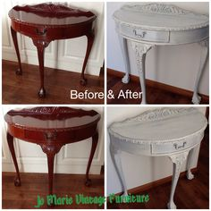 Nest of 3 vintage tables painted in ASCP Paris grey see before