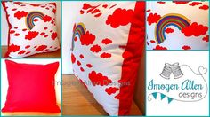 Rainbow and clouds cushion featuring by ImogenAllenDesigns on Etsy