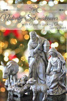 spray painted nativity set