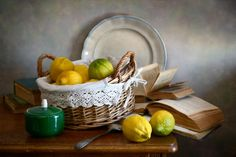 Lemons In Basket Photograph by Nikolay Panov
