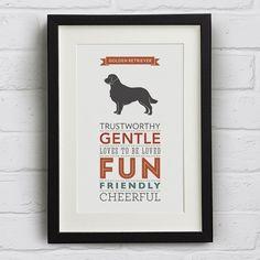 Golden Retriever Dog Breed Traits Print  Great by WellBredDesign, £12.95