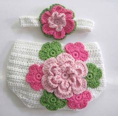 Pink-Green-White Diaper Cover Set