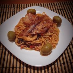 """#home #cooking #time #italian #food #late #dinner #pasta #olives #awesome #flavors #bacon #hellyeah"""