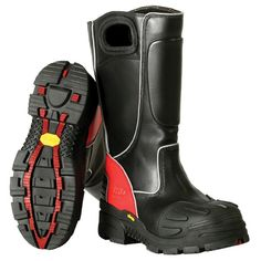 Leather Structural Fire Boot, Black With Red Trim