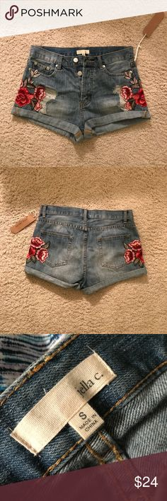 Jeans Shorts with embroidery. NWT Forever 21 Jeans shorts with flower embroidery. NEW WITH TAGS  Same day shipping. All items come from a smoke & pet free home.  I'm happy to answer any questions & post more pics. Forever 21 Shorts Jean Shorts