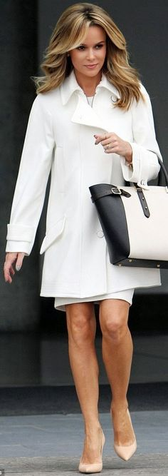 Amanda Holden in White Amanda Holden, Fashion And Beauty Tips, Look Fashion, Britain's Got Talent, Hottest Female Celebrities, Professional Wardrobe, Glamour, Office Fashion, Mode Outfits