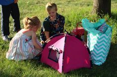 American Girl Doll Tent Tutorial DIY | timandmeg.net - awesome, clear instructions and measurements and even tips for the tent poles! Gotta remember to wrap poles with fun duct tape!
