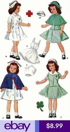 """McCall's Club and Red Cross Nurse Doll Uniforms. Designed for Betsy McCall. A """"Child& Doll"""" fashion, for Girl's Nurse Uniform pattern see McCall's Add a photo to the gallery by clicking the """"modify"""" button below. Doll Patterns Free, Doll Sewing Patterns, Vintage Dress Patterns, Doll Clothes Patterns, Nurse Costume, Vintage Paper Dolls, Before Us, Couture, Vintage Outfits"""