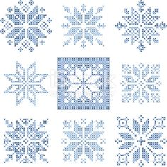 Illustration of Set of 9 cross-stitch snowflakes pattern, Scandinavian style. Geometric redwork ornament for embroidery. Perfect for Christmas design. Vector illustration vector art, clipart and stock vectors. Cross Stitch Christmas Ornaments, Xmas Cross Stitch, Cross Stitch Cards, Simple Cross Stitch, Cross Stitch Kits, Cross Stitch Designs, Modern Cross Stitch, Cross Stitching, Cross Stitch Embroidery