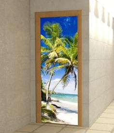 Fotomural puerta playa tropical.