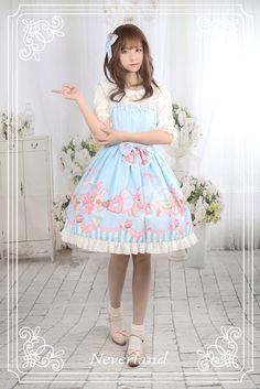 Neverland Lolita -Tea Party Rabbits- Lolita Jumper Dress + Hairclip Set $60.99 - My Lolita Dress
