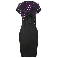 Purple White Polka Dot Wiggle Dress