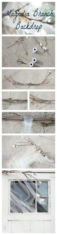 Magnolia Branch & Tulle DIY Backdrop