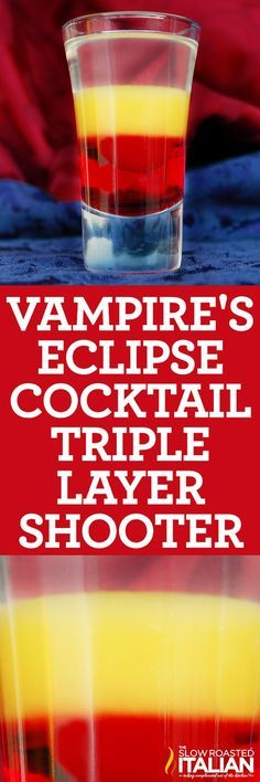 The Vampire's Eclipse is a magnificent cocktail with 3 magical layers this shot is sure to impress!!