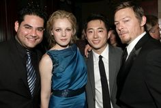 Actors Juan Gabriel Pareja Emma Bell Steven Yeun and Norman Reedus attend AMC's 2011 Golden Globe Awards Party held at The Beverly Hilton hotel on...