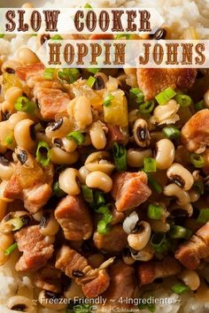 Slow Cooker Hoppin John Black Eyed Peas and Ham Recipe Slow Cooker Hoppin John Black Eyed Peas and Ham Recipe Slow Cooker Hoppin John Recipe, Slow Cooker Recipes, Crockpot Recipes, Freezer Recipes, Crockpot Dishes, Freezer Meals, Slow Cooking, Freezer Cooking, Kitchens
