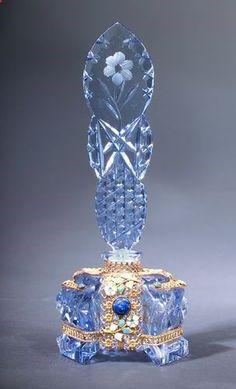 Czechoslovakian Cut Glass Perfume Bottle, circa 1920s,