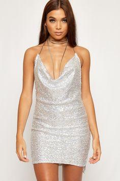 Tarria Silver Sequin Chain Choker Mini Dress Pretty Little Thing IwBY4GeUwP