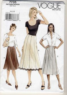 Vogue 7735 Misses Semi-Fitted,A-Line or Slightly Flared Skirt sewing pattern…