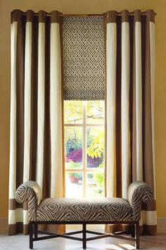 Selecting Window Treatments - Calico Corners:... LIKE THE UNDERNEATH  SHADE.IDEA.. COULD COVER THE WALL AREA IF CURTAIN GOES UP TO CEILING...