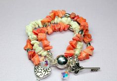 Coral Chips and Magnesite Silver Coral Beaded by CaveGemstones, $40.00