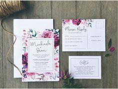 plum floral rose watercolour watercolour wedding elegant engagement invitation suite Mornington Peninsula Melbourne Victoria Australia graphic designer stationery