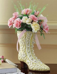 Victorian Boot Vase W/ Fabric Flower Bouquet By Collections Etc Victorian Vases, Victorian Fabric, Victorian Boots, Victorian Flowers, Victorian Decor, Victorian Design, Artificial Floral Arrangements, Silk Flower Arrangements, Fabric Roses