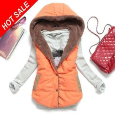 spring&autumn plus size lamb wool women's vest  2014 new thermal down cotton with a hood vest women all-match LS041
