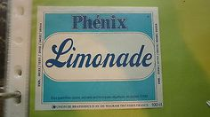 Old french soft #drink cordial label, #union de brasseries, phenix #lemonade,  View more on the LINK: 	http://www.zeppy.io/product/gb/2/292028815475/