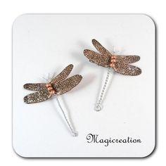 DUO PINCES ANTI GLISSE LIBELLULE- BEIGE ARGENTE - Boutique www.magicreation.fr