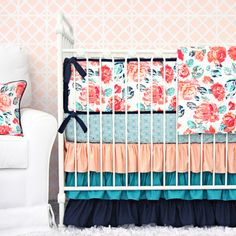 Added with a modern twist, our gorgeous Everly's Garden ruffle designer baby bedding includes a coral and navy fabric crib set that is on a trend and super preppy!