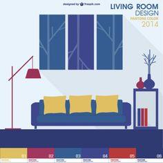 Pantone Design Living Room Vector Free Vector