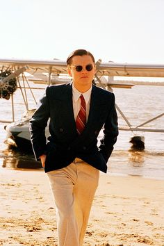 """Leonardo DiCaprio as Howard Hughes in a screen still from """"The Aviator"""", Costume Design by Sandy Powell Leonardo Dicaprio, Howard Hughes, Martin Scorsese, Aviator Movie, The Aviator, Aviator Glasses, Ray Ban Sunglasses Sale, Sunglasses 2016, Sunglasses Outlet"""