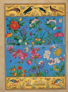 """""""The Flower and the Bird""""  Mohammad Yusof  Indian Moraqqa'  First half of 17th century  Golestan Palace"""