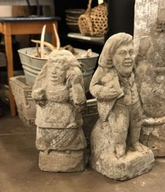 """Very Old Concrete Statue of Man or Woman   Woman  20"""" Tall  Man  21.5"""" Tall   $48 Each   Vintage Affection Dealer #1680  White Elephant Antiques 1026 N. Riverfront Blvd., Dallas, TX 75207"""