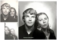 Two 1968 photobooth pics, two different places, two different sizes, blended into one portrait (we never had a photo taken together back then)